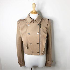 BCBG Military Ruffle Crop Jacket
